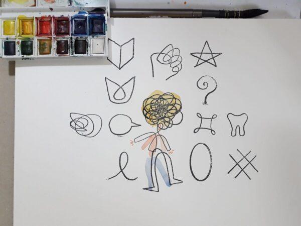 Disegno bambina con icone